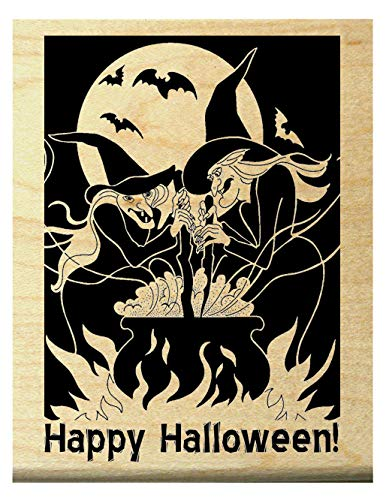 P19 Happy Halloween Witches Rubber Stamp WM]()