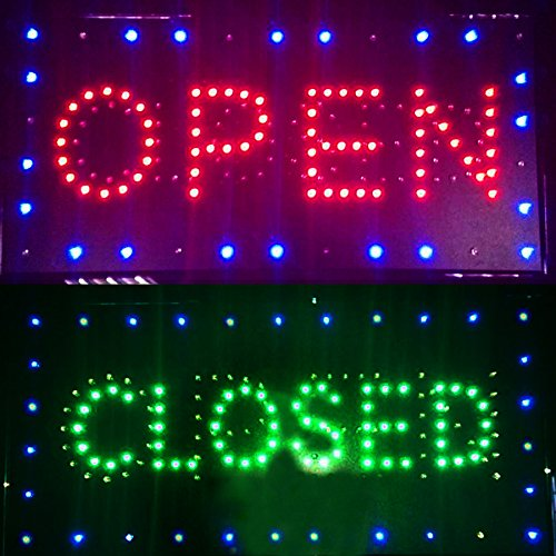 Ovovo Ultra Bright LED 2 in 1 Open Closed Sign, Business Signs for Drink Food Restaurant Diner Cafe Bar Pub Coffee Shop Store Wall Window Display (Led Store Sign)