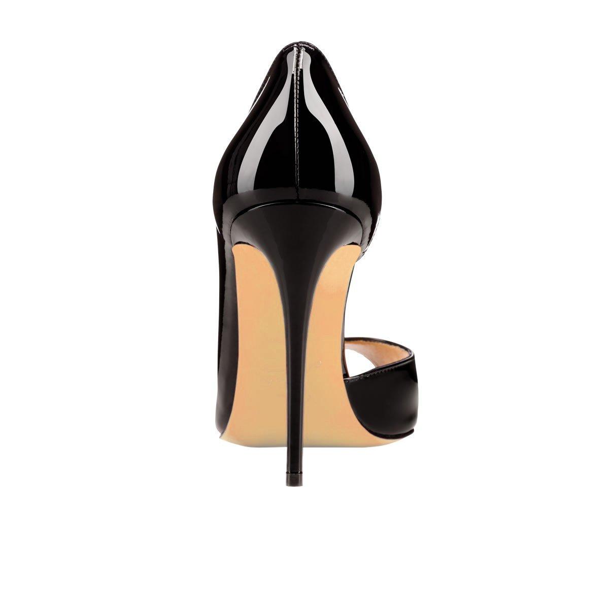 Chris-T Women Fashion D'Orsay Peep Toe with High Heel Stiletto Dress Party Pumps Size 5-15 US B07F7VFJ3Q 6 B(M) US|Black/Red S0le(bottom)