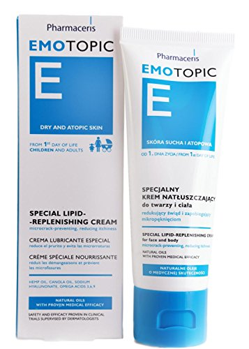 Eczema Dermatitis andamp; Dry Skin Moisturizer, Newborns to Adults, Lipid Replenishing Cream, Face andamp; Body, Fragrance-Preservative-Paraben Free, by Pharmaceris, 75ml