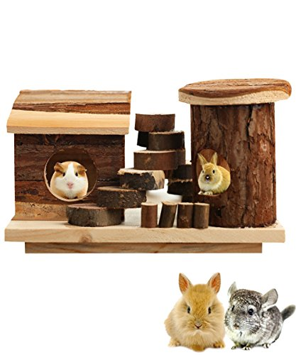 Wood Hamsters House, Hkim Deluxe Wooden Gerbils Hideout Home Hut Play Chews Toys for Small Pet Animal/ Dwarf Mice/ Hedgehogs (Home) (A)