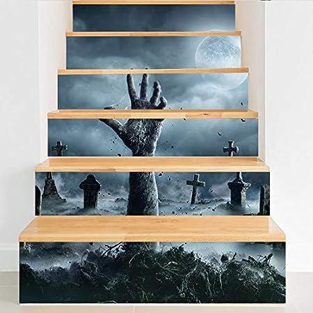 MSSJ Pegatinas tridimensionales de Halloween 100 * 18 cm * 6 Piezas Pegatinas de Escalera de Mano Fantasma de Cementerio Pegatinas de Pared Impermeables extraíbles DIY Wallpaper Lt009: Amazon.es: Hogar
