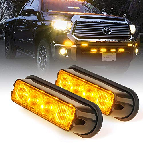4 LED 4 Watt Emergency Vehicle Waterproof Surface Mount Deck Dash Grille Strobe Light Warning Police Light Head with Clear Lens - 2 Pack ()