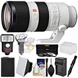 Sony Alpha E-Mount FE 70-200mm f/2.8 GM OSS Zoom Lens with Flash + Soft Box + Diffuser + NP-FW50 Battery & Charger + 3 UV/CPL/ND8 Filters + Kit