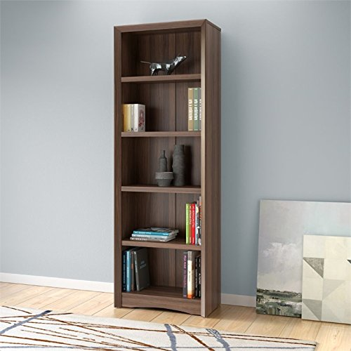 CorLiving Quadra 5 Shelf Faux Wood Grain Bookcase in Walnut