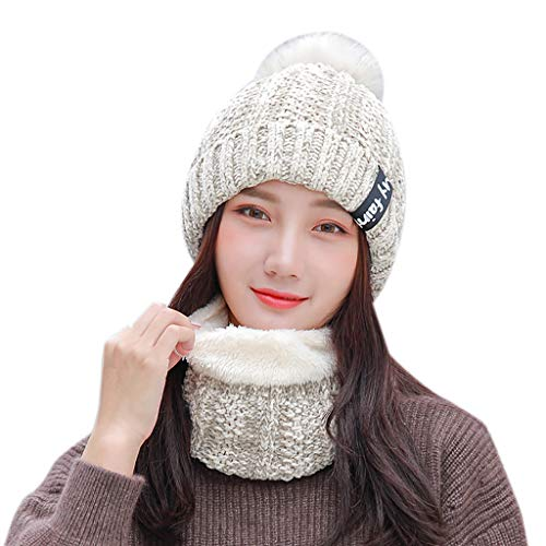 Pandaie- Hats 2Pcs Women Winter Warm Knitted Venonat Beanie Hat+Scarf Keep Warm Set