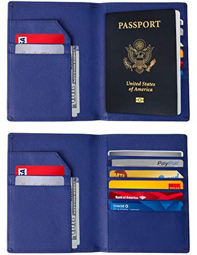 RFID Blocking Passport Holder - Genuine Leather RFID Passport Holder - Slim Passport Wallet Cover Case (Royal Blue)