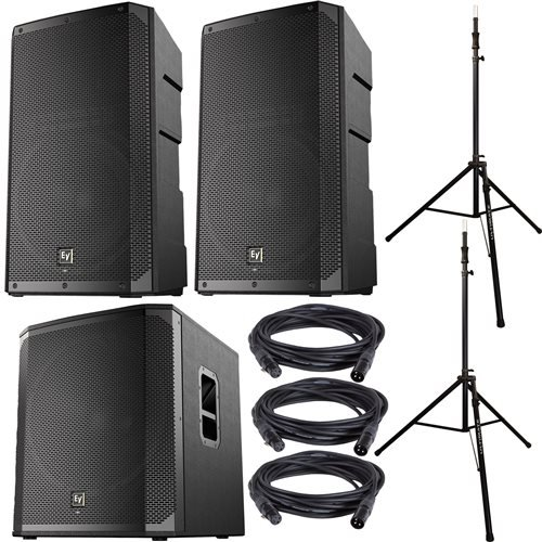 Electro-Voice ELX200-12P Speakers (x2), ELX200-18SP Subwoofer, Ultimate Stands by Electro Voice