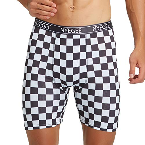 Mens Boxer Briefs Long Leg Trunks Underwear Quick Dry Fit Wicking Boxer Briefs Tagless with 3D Print No Rise Up by NYEGEE