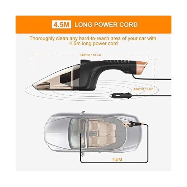 51CeLMmGwML Auto Staubsauger mit LED Licht, SONRU DC 12V Nass/Trocken Portable Handstaubsauger für KFZ, Hohe Saugkraft, HEPA Filter…