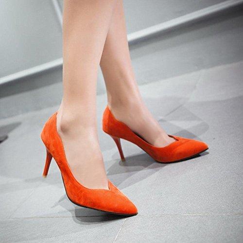 Latasa WomenS Fashion Faux Suede Pointed-toe Stiletto High Heel Dress Pumps Shoes Orange p5INn