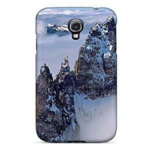 IuX10480WlUm Case Cover, Fashionable Galaxy S4 Case - Mountain Peaks Above Clouds
