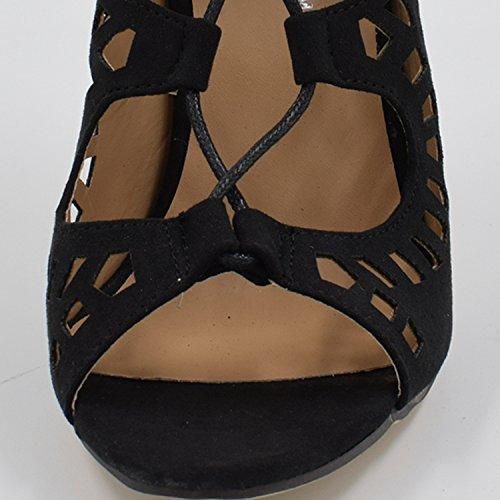 Oasap Damen Fashion Spitz Schnürband Pfennigsabsätzen Schuhe Black