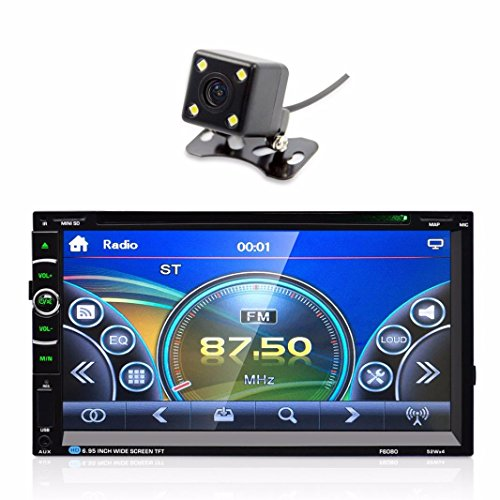 Compia 7'' 2 DIN HD Bluetooth Touch Screen Car DVD Player Receiver GPS Navigation Stereo Radio FM/MP5/MP3/USB/AUX+Rearview camera (Ceiling Mount Portable Dvd Player)