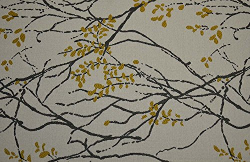 Railroaded Upholstery Fabric - Grey Gold Asian Branch Leaf Upholstery Railroaded Myla Marigold Culp Fabric