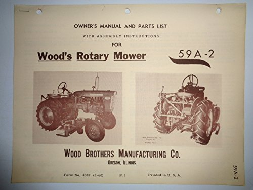 - Woods 59A-2 Rotary Cutter Belly Mower (for IH 140 and other Model Tractors) Operators/Parts Owners Manual 2/60