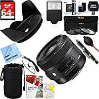 Sigma (301101) 30mm F1.4 ART DC HSM ART Lens for Canon DSLR Cameras + 64GB Ultimate Filter & Flash Photography Bundle