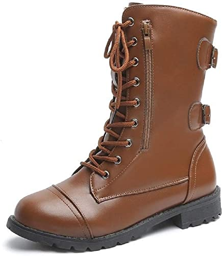 Mens Punk Goth Mid Calf Round Toe Lace UP High Top Combat Boots Shoes Military