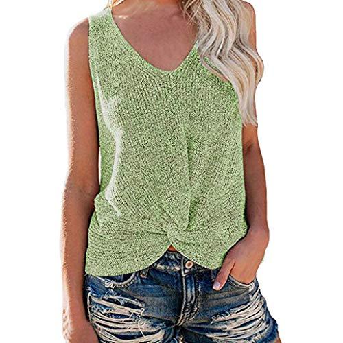 Shusuen Womens Summer V Neck Sleeveless Sweater Twist Knot Casual Loose Knit Tank Tops Green