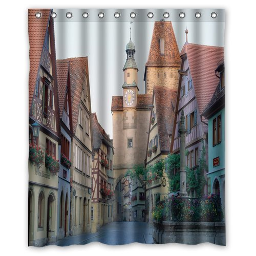 Unique And Generic Shower Rothenburg Germany Curtain Custom Printed Waterproof Fabric Polyester Bath 60quot