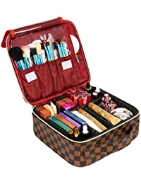 Makeup Case Cosmetic Bag Professional Train Case Large Makeup Box Make Up Storage Organizer with Removable Dividers & Brush Section for Women Girls Travel, PU Leather, Hard Shell,Brown