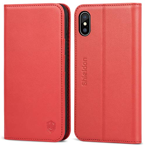 SHIELDON iPhone Xs Max Case, Genuine Leather iPhone Xs Max Wallet Folio Case Auto Sleep Wake Magnetic Closure RFID Blocking Card Slots Compatible with iPhone Xs Max (6.5 inch 2018 Release) - Red