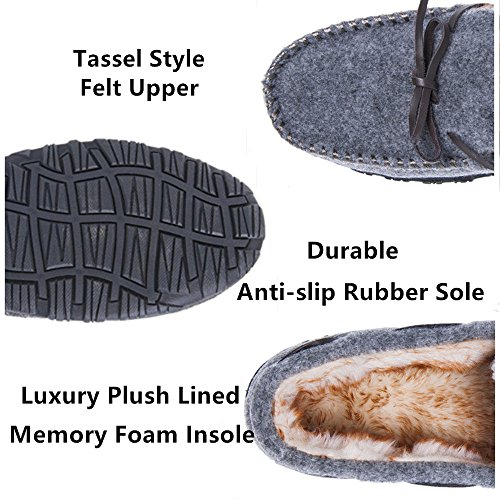 Thick Lined Slippers Light Festooning Grey Anti Sole Foam Shoes Moccasin Slip Memory Outdoor for House Casual Plush Men Indoor 0qSRXRwEx