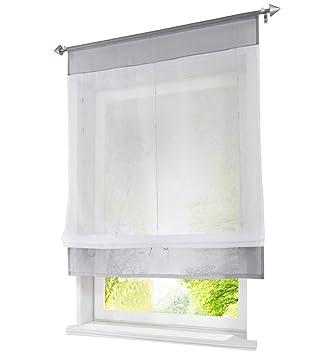 Grand Stores Romains Passe Tringle Rideau Voilage Transparent Raffrollo  Décoration De Fenêtre Chambre / Salle De Bain