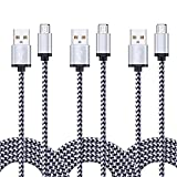 Android Charger Cable, FiveBox 3-Pack 6ft Micro USB Cable Braided Fast Charging Cord Phone Charger for Samsung Galaxy J3 J7 S6 S7 Edge, Tablet, LG Stylo 2/3, LG G3 G4 K30 K20 Plus, Kindle Fire 7 8