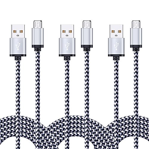 Android Charger Cable, FiveBox 3-Pack 6ft Micro USB Cable Braided Fast Charging Cord Phone Charger for Samsung Galaxy J3 J7 S6 S7 Edge, Tablet, LG Stylo 2/3, LG G3 G4 K30 K20 Plus, Kindle Fire 7 8 by FiveBox