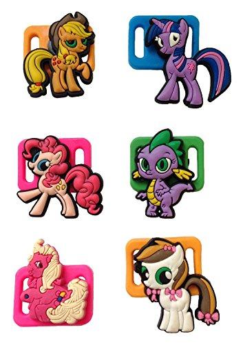 [Little Pony Shoelace Decoration Clips 6 Pcs Set #2] (Disney Tinker Bell Kids Sparkle Shoes)