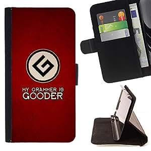 Momo Phone Case / Flip Funda de Cuero Case Cover - My Grammar Is Goode - Funny - HTC One M7