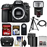 Nikon D7500 Wi-Fi 4K Digital SLR Camera Body 64GB Card + Battery & Charger + Case + Tripod + Flash + HDMI Cable + Kit