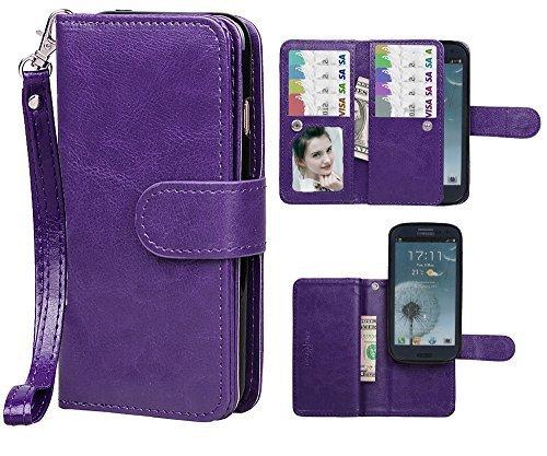 Case for Samsung S3,xhorizon TM FLK Premium Leather Folio Wallet Magnetic Wristlet Purse Soft Flip Multiple Card Slots Case for Samsung Galaxy S3 i9300 (Purple)