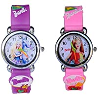 Pass Pass Barbie Rubber Band Analogue Kids Watches Combo for Girls (Pink & Purple)