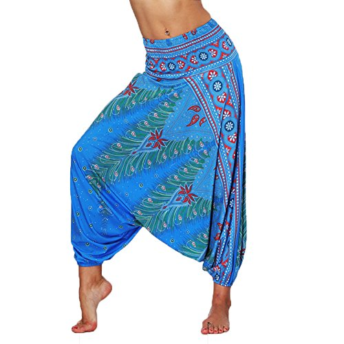 Lcoco&Dream Women's Drop Bottom Elastic Waist Loose Fit Baggy Gypsy Hippie Boho Yoga Harem Pants