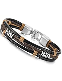 Black Silver Brown Alloy Genuine Leather Bracelet Bangle Rope Tribal