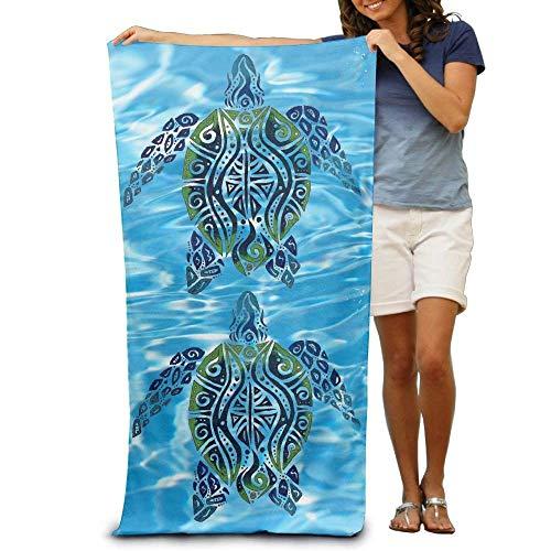TOGEFRIEND Tribal Sea Turtles Clipart Velour Beach Towel 31.5 X 51.2 Inches ()