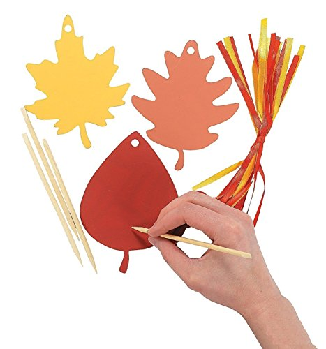 Colorful Paper Magic Color Scratch Leaves (48 Pieces) Fall Leaves Craft