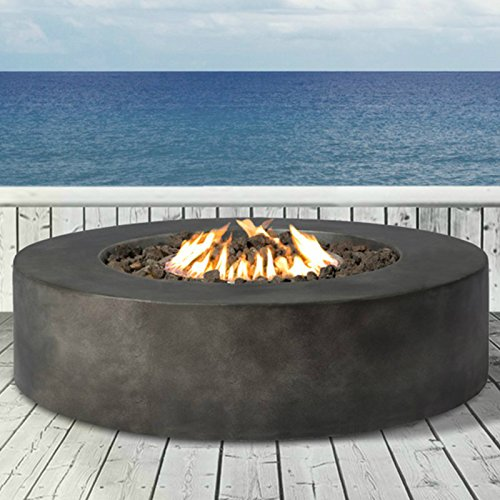 Century Modern Outdoor Fire Pit for Outdoor Home Garden Backyard Fireplace by (Round Shape Black Finish)