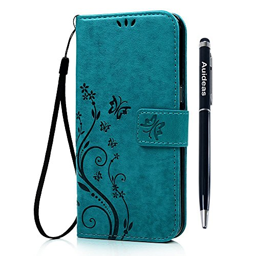 Price comparison product image LG K8 (LG Escape 3,LG Phoenix 2) Wallet Case - Auideas Fashion Floral Butterfly Embossed PU Leather Magnetic Flip Cover Card Holders & Hand Strap for LG K8 (LG Escape 3,LG Phoenix 2) with Pen - Blue