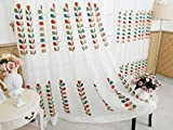 WPKIRA High-grade Natural Elements Colorful String Grass Embroidery Grommet Top Linen Window Voile Curtains Sheer Screens Tulle/Voile Room Decoration for Living Room 1 Panel W75 x L96 inch For Sale