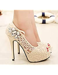 Fish mouth shoes high heel stiletto shoes asakuchi rhinestone sexy night club plus size shoes , pink , 37