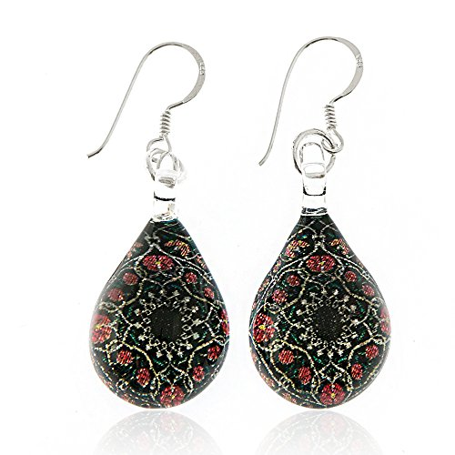 925 Sterling Silver Hand Painted Murano Glass Black Mandala Flower Teardrop Dangle Earrings