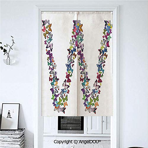 AngelDOU Letter W Summer Automatic Closing Curtains Valances Collection of Butterflies Language of Grace Alphabet Font Letter W Girls Design Decorative Door Screen Partition Curtain. 39.3x59 inches
