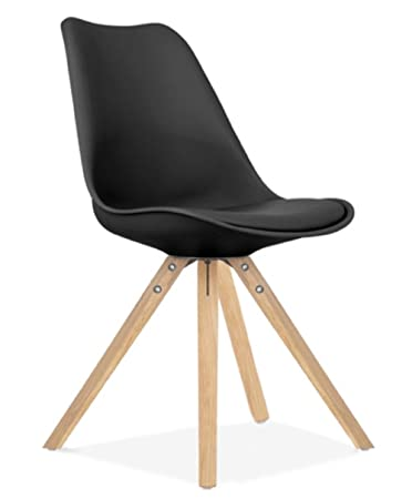 Zolta Retro Esszimmer Stuhl Skandinavisches Design Holz Beinen  Esszimmerstuhl Büro 81x49x41cm (Schwarz, 1)