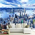 Amazhen Texture Wallpaper 3D Stereo Blue Sky City Building Landscape Mural Dining Room Living Room Sofa Backdrop Walls