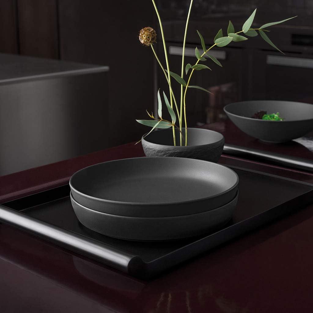 Villeroy /& Boch schwarz sp/ülmaschinengeeignet Iconic Schale flach elegante Sch/üssel aus Premium Porzellan dekorative
