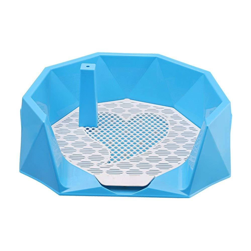 bluee L With column bluee L With column Pet Dog Toilet Small Dog Medium Dog Large Dog Urinal Semi-Closed Anti-Splash High Edging Side Leakage Pet Urinal Toilet (color   bluee L, Style   with Column)