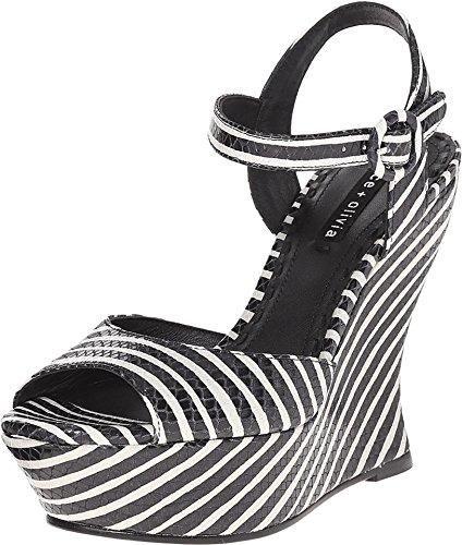 Alice + Olivia Women's Jana Black/White Streak Snake Emboss Sandal